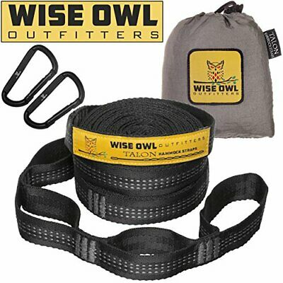 Wise Owl Outfitters XL Hammock Straps Combined 20 Ft Long, 38 Loops with 2 D