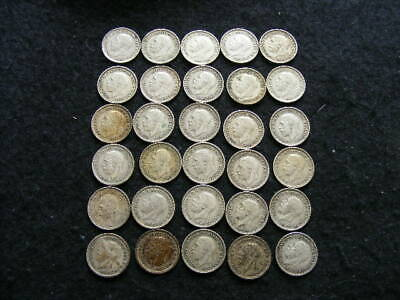 George V Silver Threepences x 30 as pictured FreePost P265