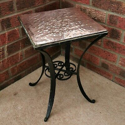 Arts and Crafts Style Decorative Wrought Iron & Copper Plant Pot Stand/Low Table