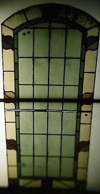 Victorian Art Nouveau Leaded Glass two panel Window, English circa 1900.