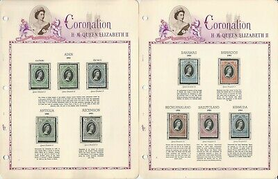 British Stamp Collection in White Ace Album, 1953 Coronation Set Mint NH