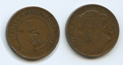 G6158 - Straits Settlements Half Cent 1873 KM#6 RAR British India Government