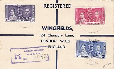 Gilbert & Ellice Islands 1937 Coronation Registered Cover Posted To England 55*