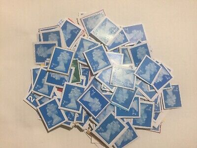 100 2nd CLASS STAMPS UNFRANKED NO GUM / ON PAPER (FV £61.00) ~ GRAB A BARGAIN