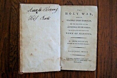1794 JOHN BUNYAN The Holy War Waged by Satan against City of God - AMERICAN ED!