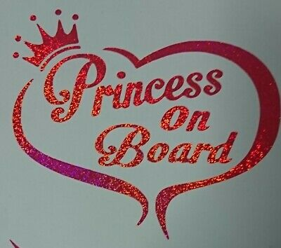 Personalised Child//Baby On Board Car Sign ~ Grandmas Princess On Board ~ Pink