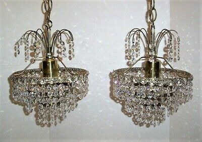 Stunning, Vintage Chandelier w/tons of Prisms, 2 Available, Waterfall Lamp