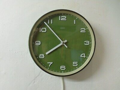Vintage Retro 1960's Electric Metamec Green Wall Clock