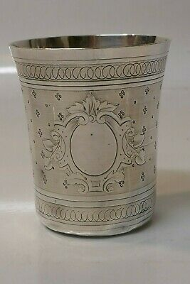 Antique Circa 1880/1900 Massat Freses Sterling Silver Engraved Beaker