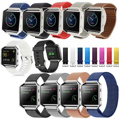 For Fitbit Blaze Bracelet Strap Soft Silicone/Leather/Stainless Steel Watch Band