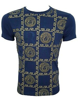 NEW with Tags Versace Top Brand T-Shirt Tee Logo Brand Navy Blue Gold Top Offer