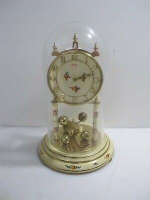 """Kundo Anniversary Glass Dome Floral Gold Collectible Clock - Approx 12"""" Tall"""