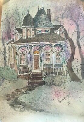 """Anna Sandhu Ray""""New Orleans Manor"""" Watercolor Print Signed & Dated 1999"""