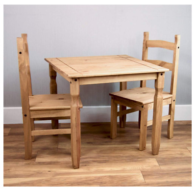 New Small Natural Wooden Dining Table 2 Chairs Set Kitchen Room Rustic Pine Best