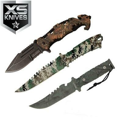 3pc Set Camo Tactical Fixed Blade Hunting Survival Spring Assisted Pocket Knife