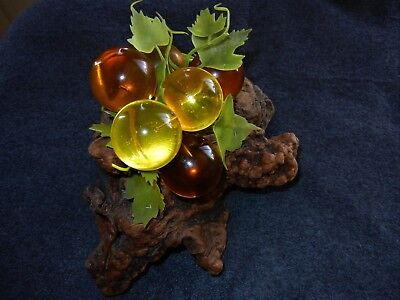 "Acrylic Lucite Grape Cluster - 1960's mid-century - beautiful amber - 10"" L"