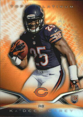 2014 Topps Platinum Orange Refractors Bears Football Card #142 Ka'Deem Carey