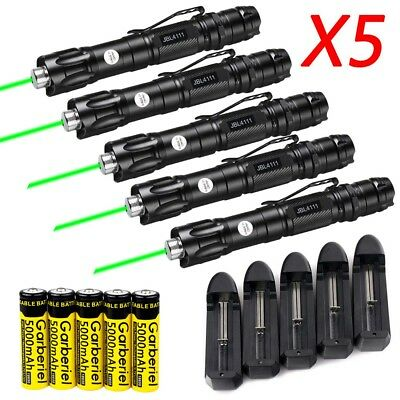 5x Military Green Laser Pointer Pen 1mW 50Miles 532nm Beam Light+Battery+Charger