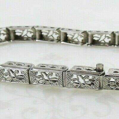 Art deco vintage sterling silver filigree panel link slim box bracelet