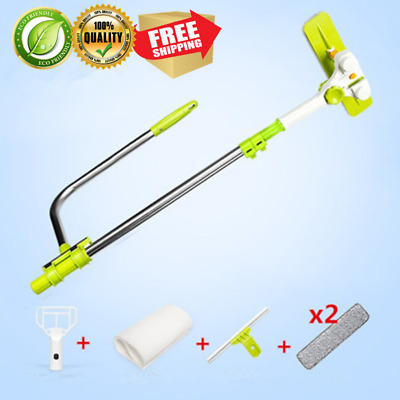 Telescopic High Rise Cleaning Glass Cleaner Brush Windows Sponge Mop Washing.