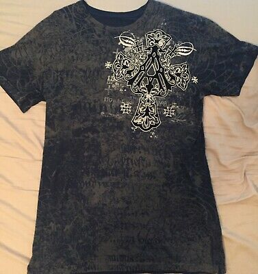 Archaic by Affliction Mens Blue Gray Short Sleeve Graphic Cross TShirt Sz Large