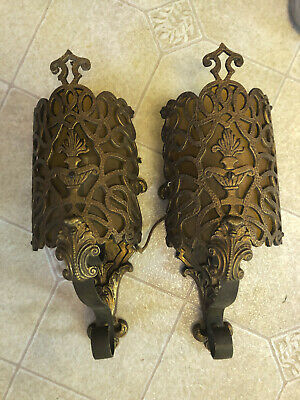 2 Vintage Brass Wall Sconces Sconce Electric Art Deco Lamp Urn w/ Flame