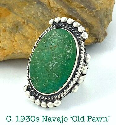 """1-3/8"""" TALL! Vintage c1930s Navajo Sterling Silver CERRILLOS Turquoise Ring Sz 7"""