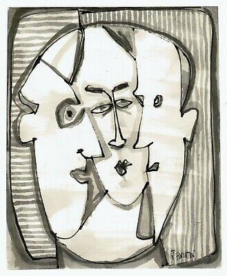THREE FRIENDS abstract/folk/outsider? ink drawing/painting J.Swinton Canadian NR