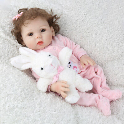 "18"" Full Body Silicone Reborn Baby Dolls Lifelike Bathing Girl Doll Gifts Toys"