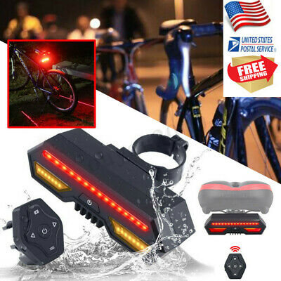 Bicycle Turn Signal Bike Rear Tail Light Laser LED Indicator USB Remote Control