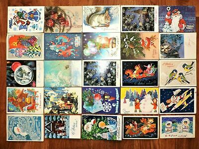 Lot #8 vintage postcards Soviet Russia 25 PCs New Year USSR Posted