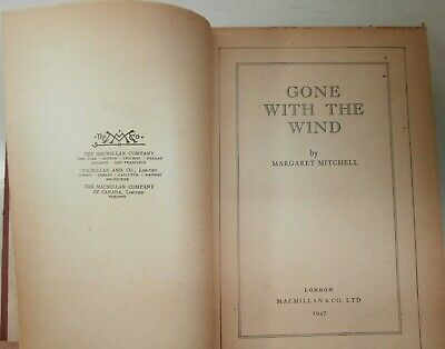 Antico Libro Book Gone with the wind Margaret Mitchell 1947 Via col Vento