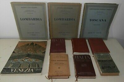 Lotto 10 antichi libri Touring Club Annuario Generale 1908 Guida d'Italia