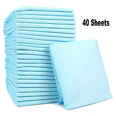 40 Sheets Disposable Bed Pads Incontinence Sheets Baby Changing Mats 60cm x 90cm