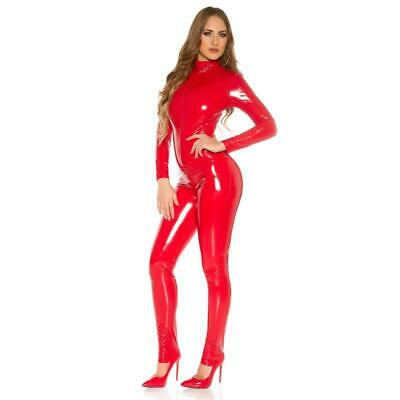 Sexy Damen Clubwear Overall Catsuit in Latex-Look Rot #OV871