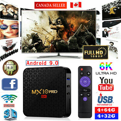 MX10 Pro MAX 4GB+64GB Android 9.0 TV Box USB3.0 HD Smart Network Media Player CA