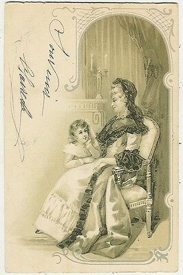 Art Nouveau, Elegant Lady in a Chair with Her Girl, Old Postcard Pre. 1905