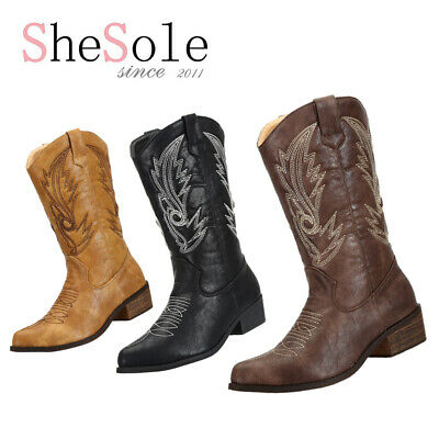 SheSole Womens Cowboy Boots Embroidery Cowgirl Western Mid Calf Vintage Boots