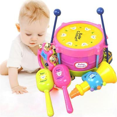 Education Toy 5pcs Kids Baby Roll Drum Musical Instruments Band RF