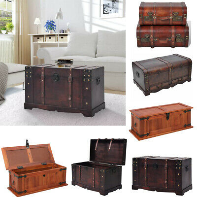 Large Vintage Treasure Chest Wood Storage Chest Trunk Box Coffee Table Chest New