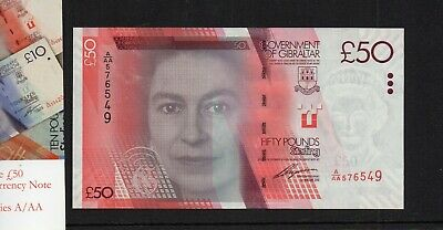 Government Of Gibraltar £50 Note. 01/01/2010 Prefix A/Aa 576549   Unc