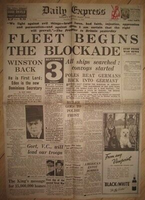 1939 Newspaper Start of World War II Churchill Daily Express I England Germany