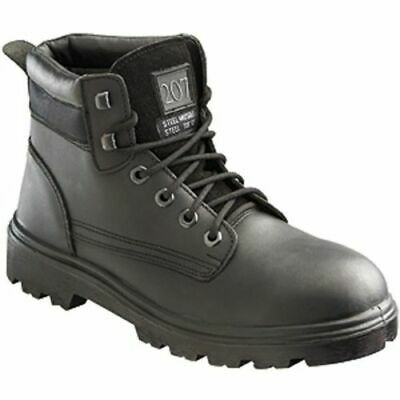 G106 Black Leather Safety Work Shoes SIP SRC Size Choice.. 3 4 5 6 7 8 9 11 13