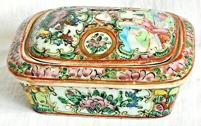 C19Th Chinese Famille Rose Canton Soap Dish Decorated People Flowers Birds