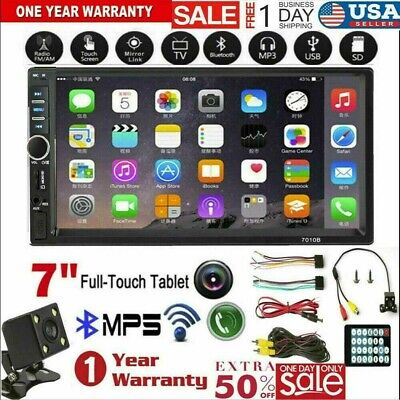 """7"""" inch 7010B 2 DIN Car MP5 Player Bluetooth Touch Screen Stereo Radio + Camera"""