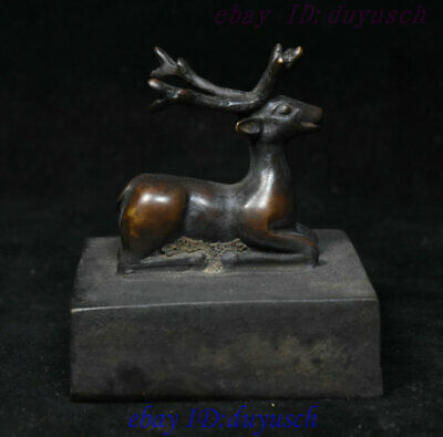Collect Chinese Folk Pure Copper Bronze Longeivty Deer Statue Seal Stamp Signet