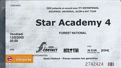 Ticket Concert: Star Academy 4 (13/5/2005) Forest National Bruxelles