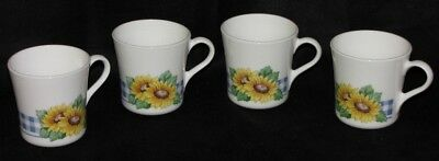 Wonderful Set of (4) Corelle Corning Ware Sunsation Sunflower Coffee Mugs/Cups