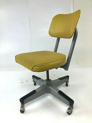 Vintage INDUSTRIAL CHAIR desk office swivel tanker mid century loft yellow 70s