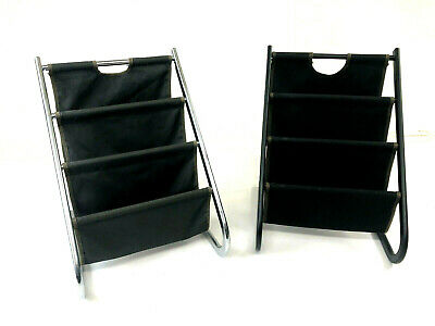 Mid Century Modern MAGAZINE RACK PAIR Chrome vintage canvas carrier caddy sling